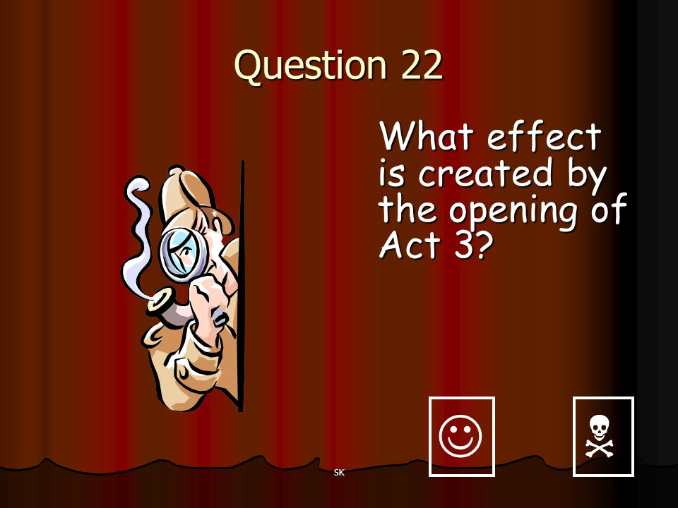 Question 22 What effect is created by the opening of Act 3   SK