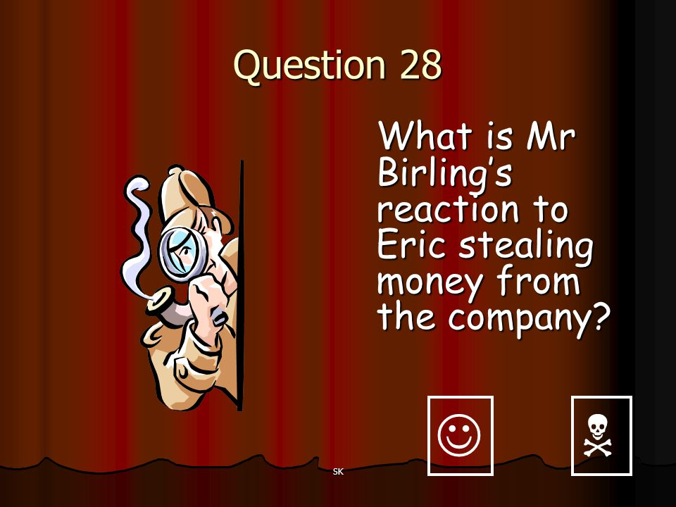 Question 28 What is Mr Birling's reaction to Eric stealing money from the company   SK