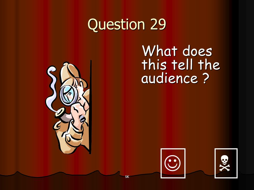 Question 29 What does this tell the audience   SK