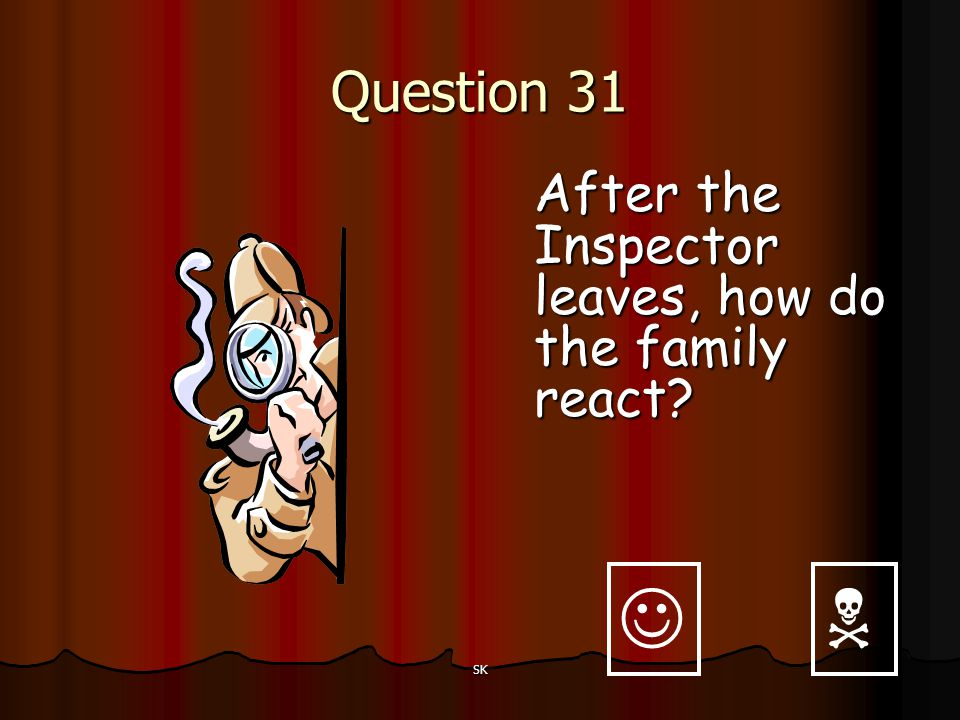   Question 31 After the Inspector leaves, how do the family react