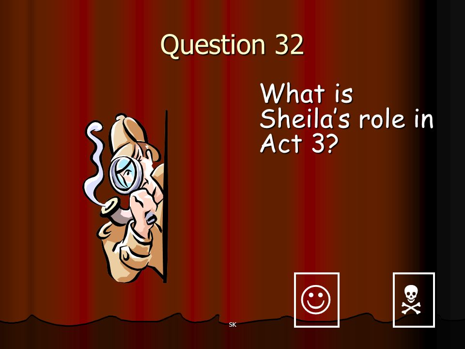 Question 32 What is Sheila's role in Act 3   SK