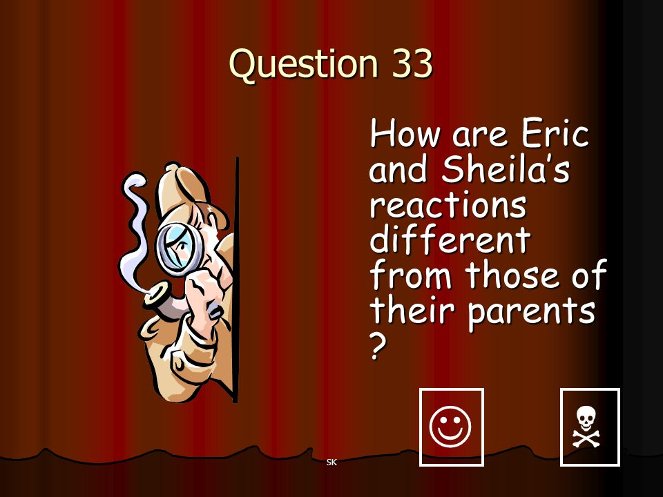 Question 33 How are Eric and Sheila's reactions different from those of their parents   SK