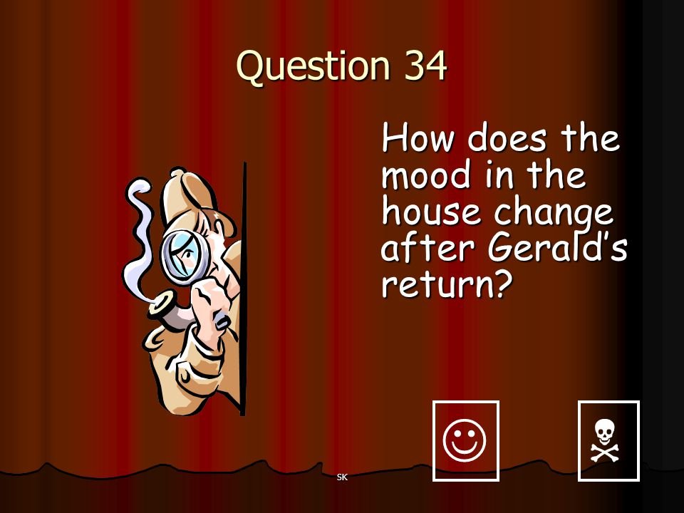 Question 34 How does the mood in the house change after Gerald's return   SK
