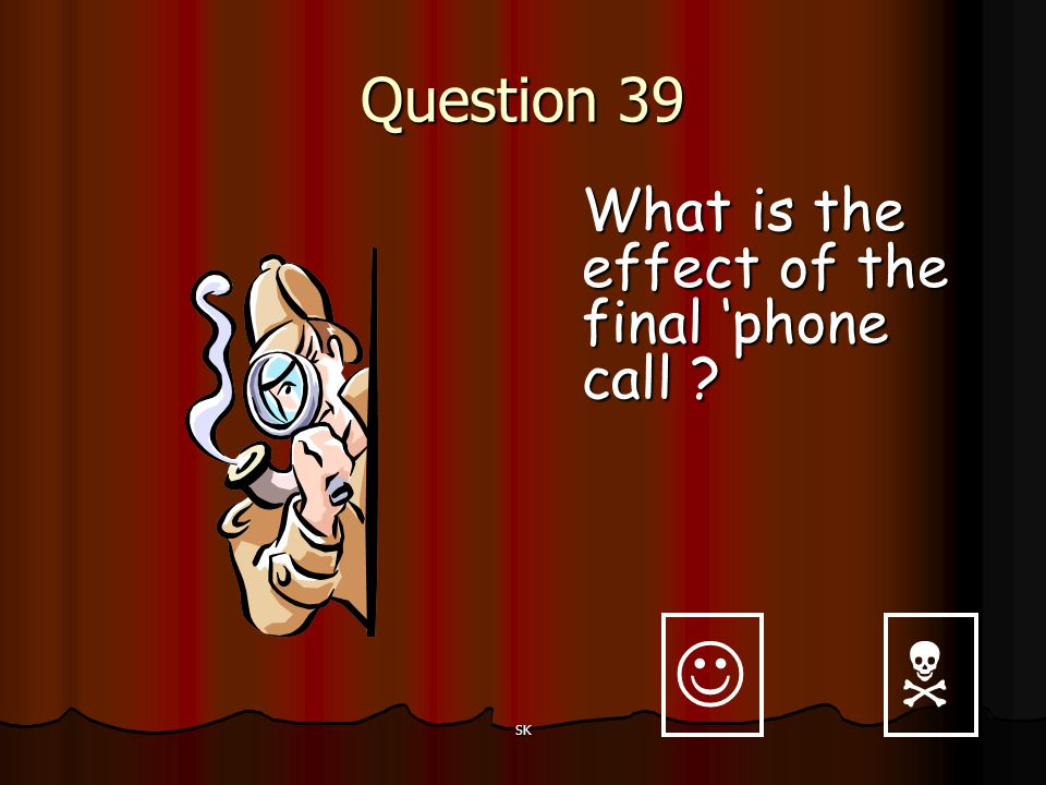 Question 39 What is the effect of the final 'phone call   SK