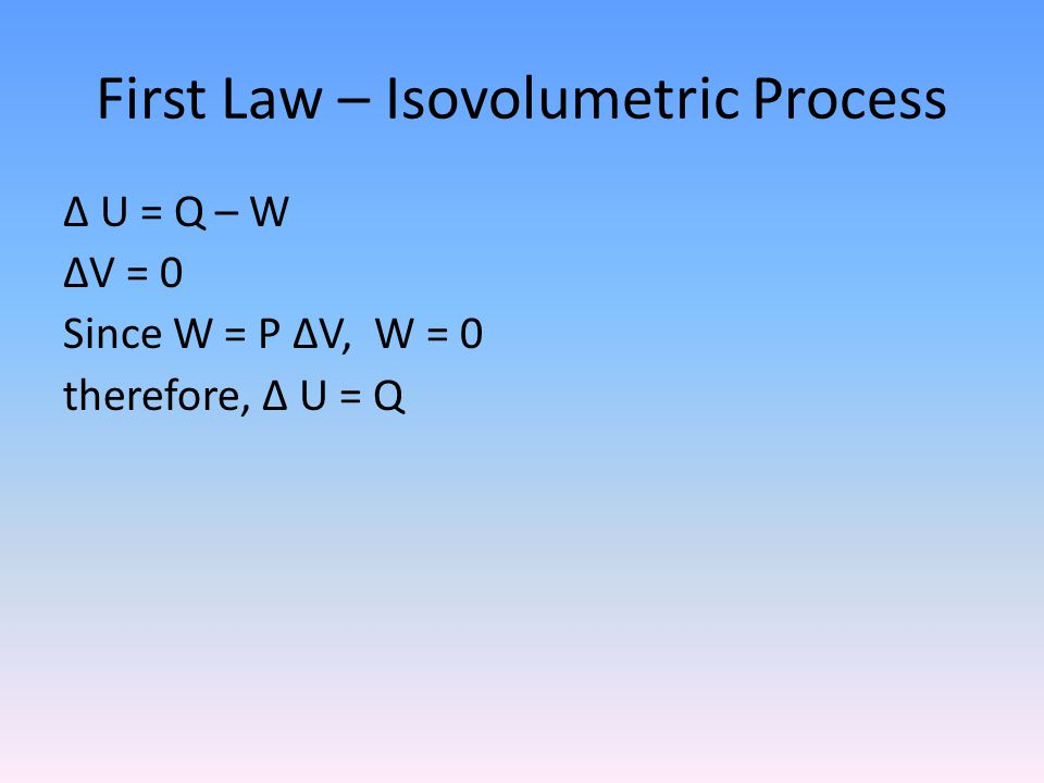 First Law – Isovolumetric Process