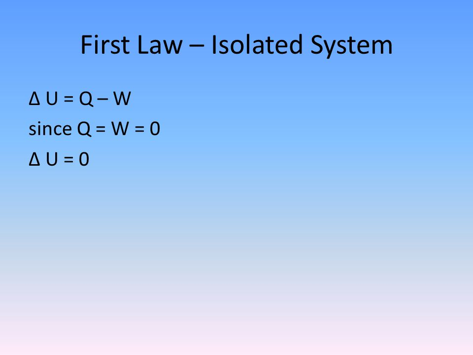 First Law – Isolated System