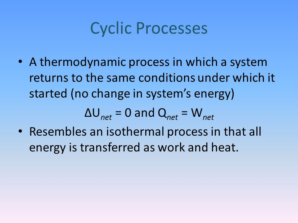 Cyclic Processes A thermodynamic process in which a system returns to the same conditions under which it started (no change in system's energy)