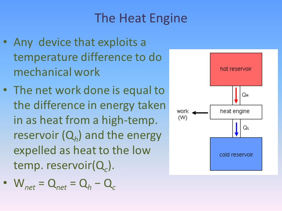 The Heat Engine Any device that exploits a temperature difference to do mechanical work.