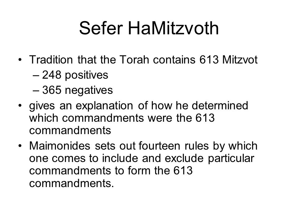 Sefer HaMitzvoth Tradition That The Torah Contains 613 Mitzvot