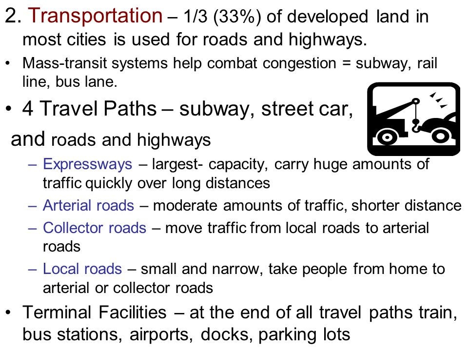 4 Travel Paths – subway, street car, and roads and highways