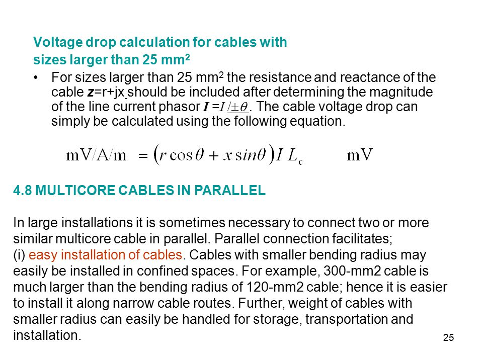 Supply cables and supports ppt video online download voltage drop calculation for cables with greentooth Choice Image
