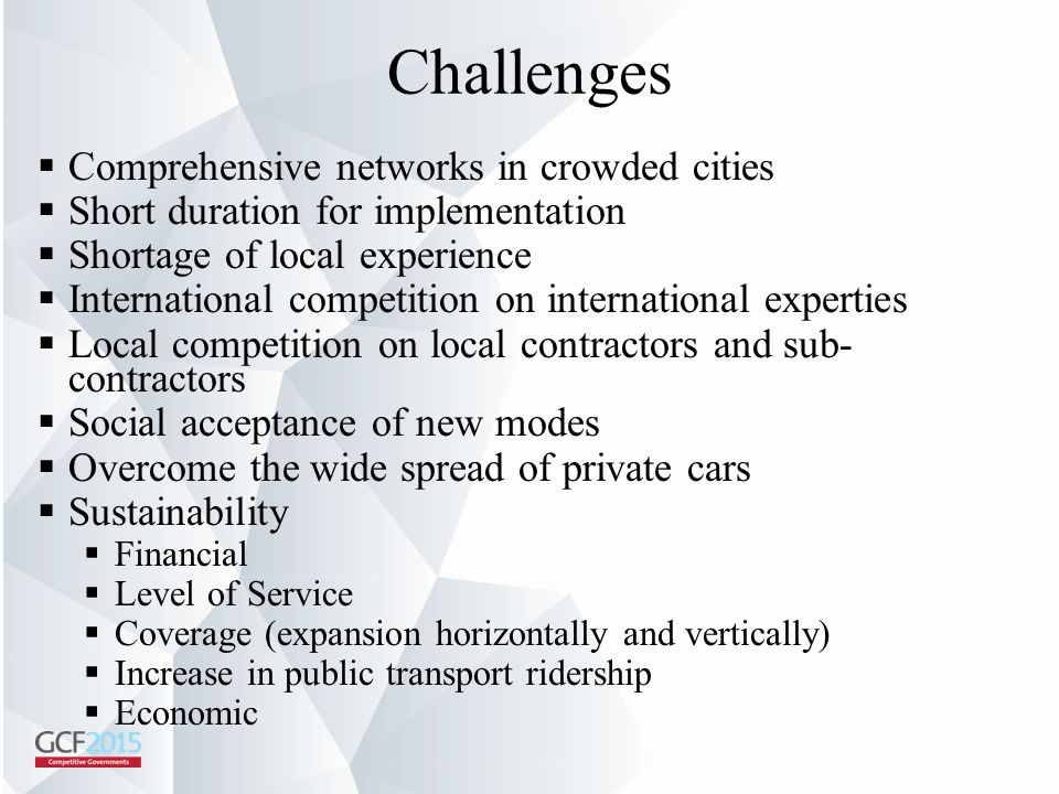 Challenges Comprehensive networks in crowded cities