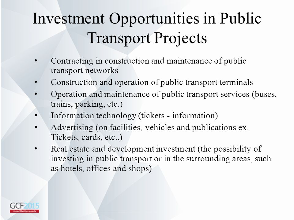 Investment Opportunities in Public Transport Projects