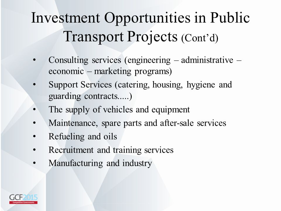 Investment Opportunities in Public Transport Projects (Cont'd)