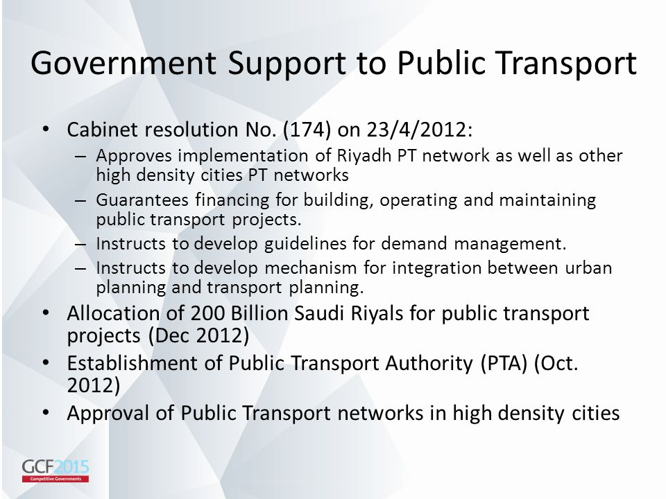 Government Support to Public Transport