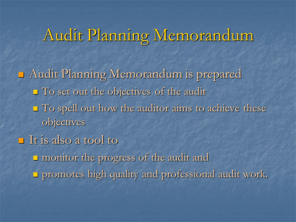 S8 audit planning memorandum ppt video online download audit planning memorandum altavistaventures Images