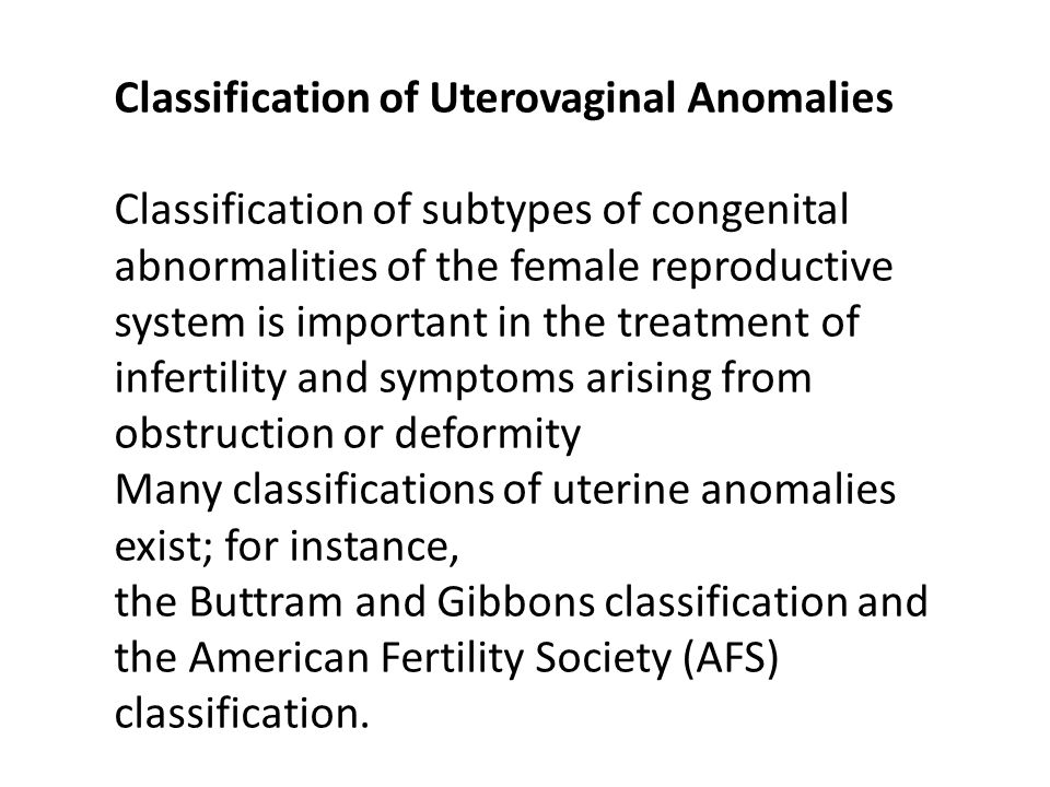 Classification of Uterovaginal Anomalies