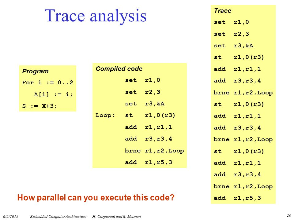 Trace analysis How parallel can you execute this code Trace set r1,0