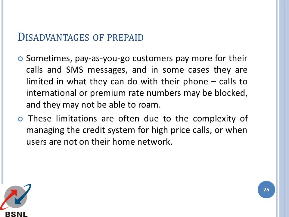 Disadvantages of prepaid