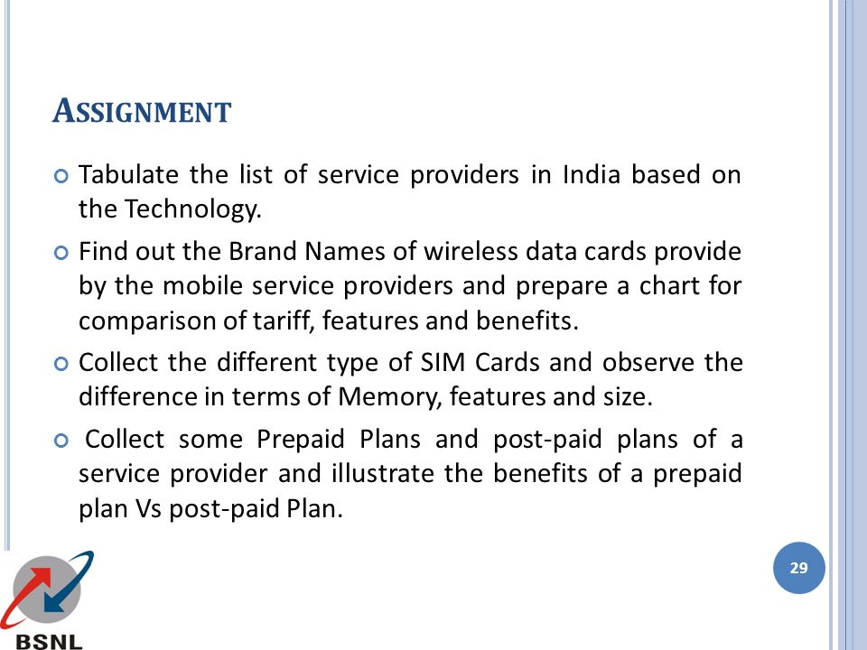 Assignment Tabulate the list of service providers in India based on the Technology.