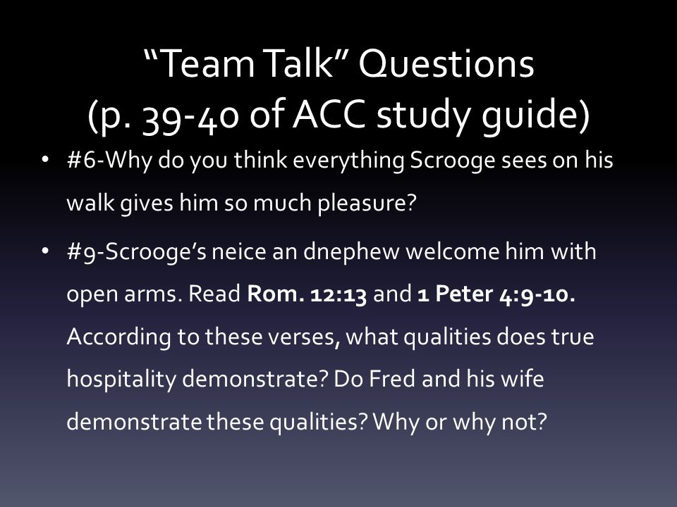 Team Talk Questions (p of ACC study guide)
