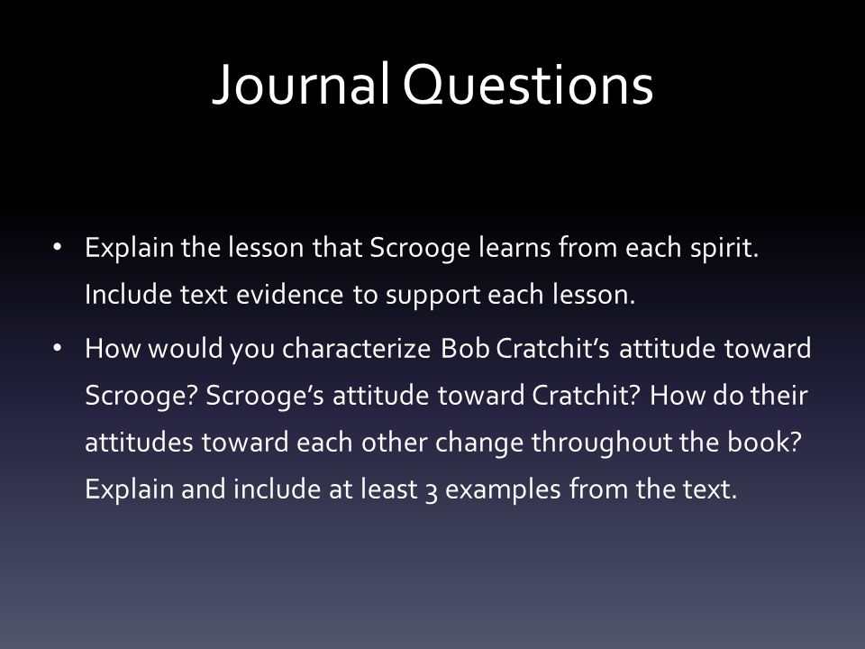 Journal Questions Explain the lesson that Scrooge learns from each spirit. Include text evidence to support each lesson.