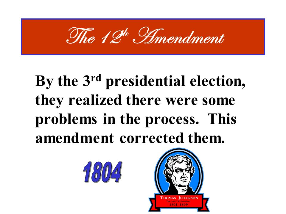 The 12th Amendment By the 3rd presidential election, they realized there were some problems in the process. This amendment corrected them.