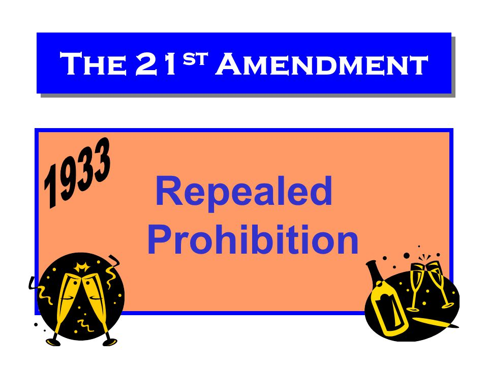 The 21st Amendment Repealed Prohibition 1933