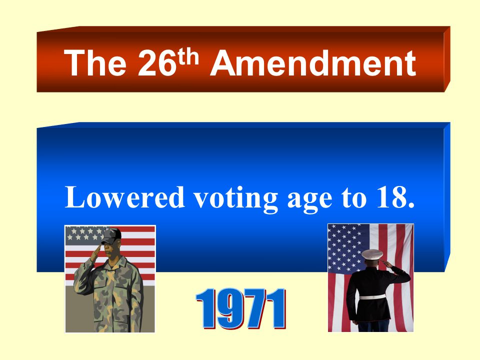 The 26th Amendment Lowered voting age to
