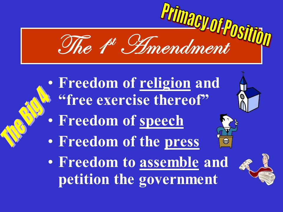 The 1st Amendment Freedom of religion and free exercise thereof