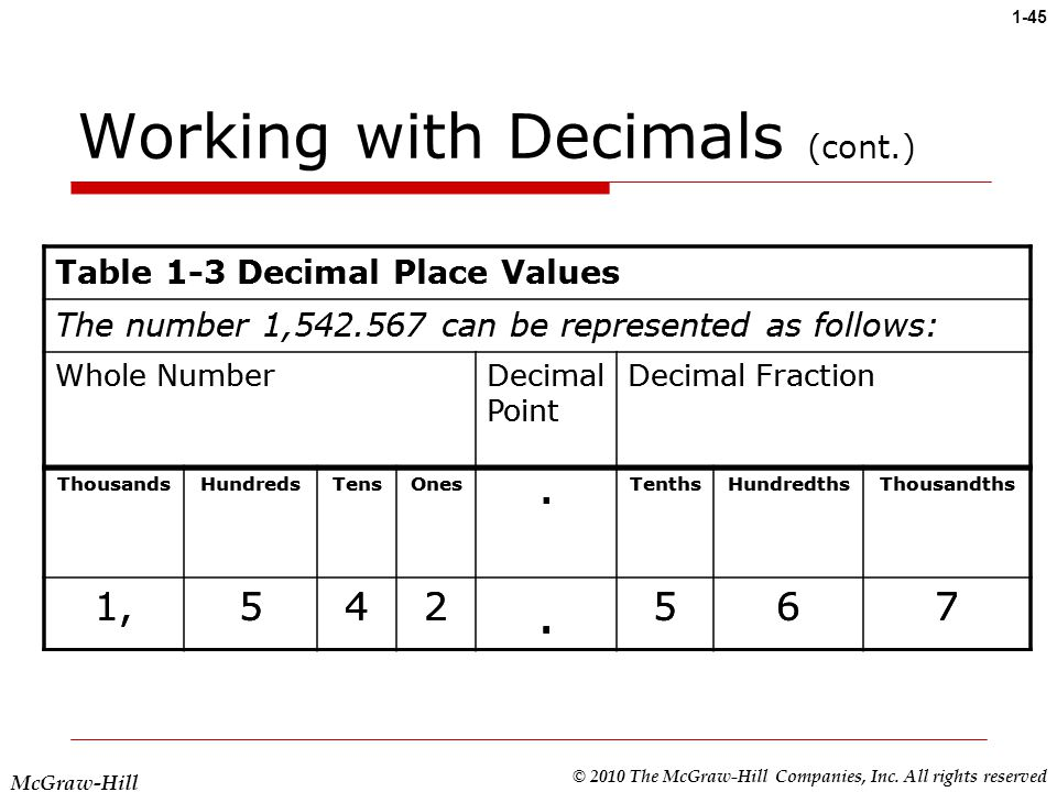 working with decimals cont