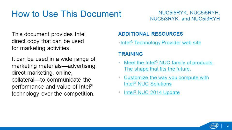 NUC5i5RYK, NUC5i5RYH, NUC5i3RYK and NUC5i3RYH Intel® NUC Kits - ppt