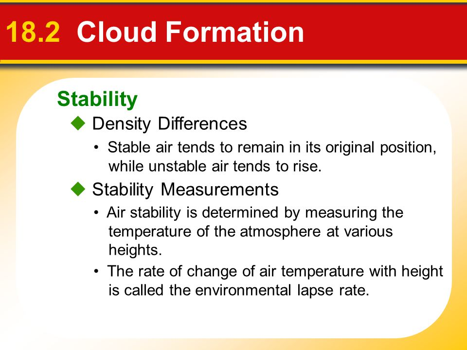 18.2 Cloud Formation Stability  Density Differences