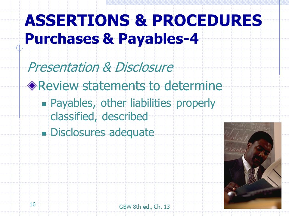 ASSERTIONS & PROCEDURES Purchases & Payables-4