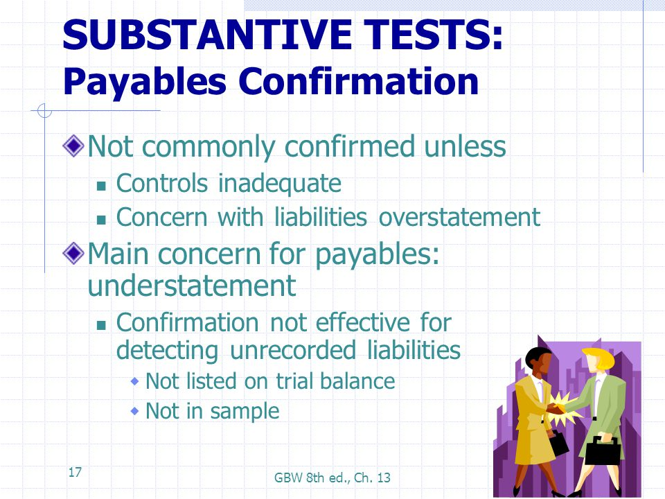 SUBSTANTIVE TESTS: Payables Confirmation
