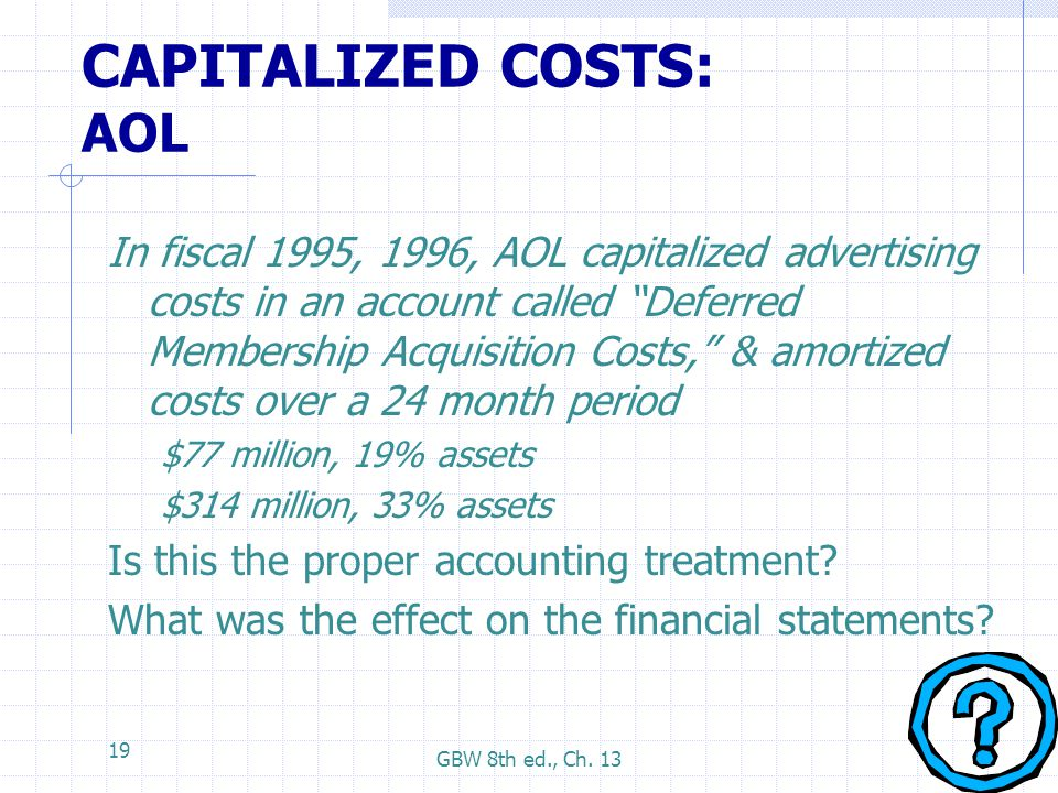 CAPITALIZED COSTS: AOL