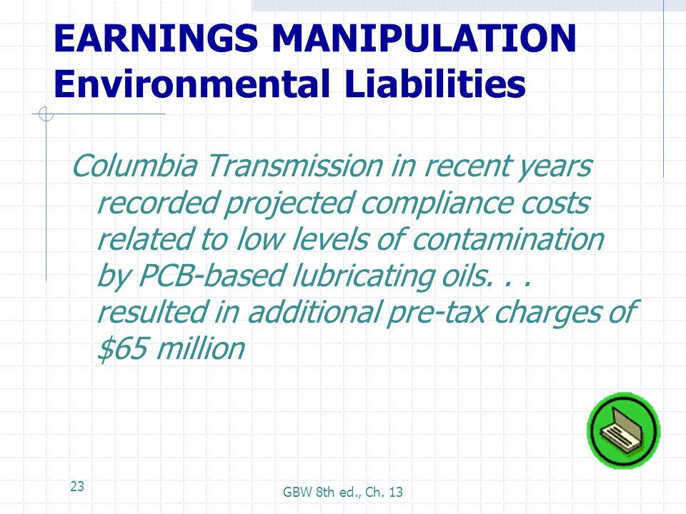 EARNINGS MANIPULATION Environmental Liabilities