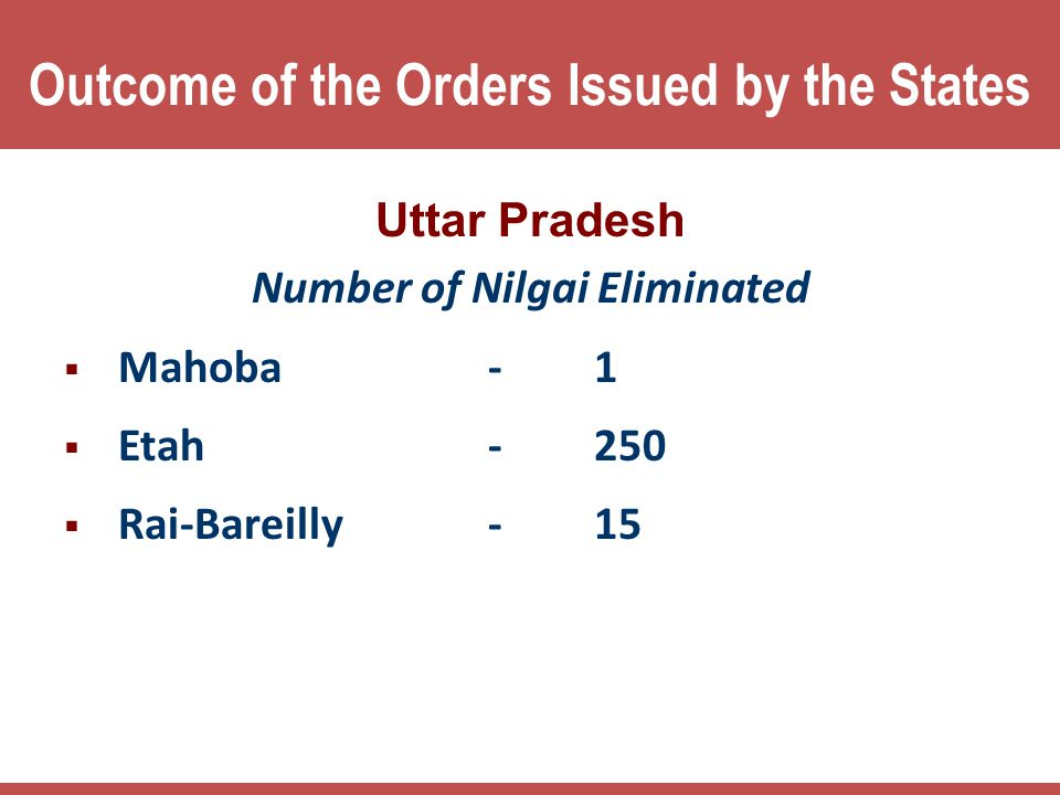 Outcome of the Orders Issued by the States