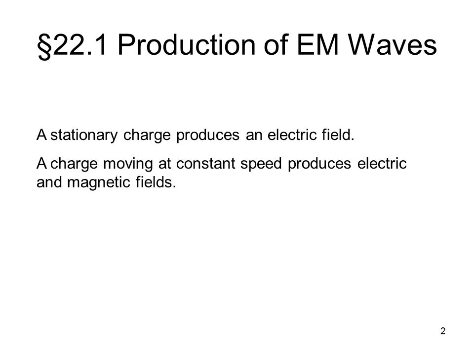 Chapter 22 Electromagnetic Waves Ppt Download