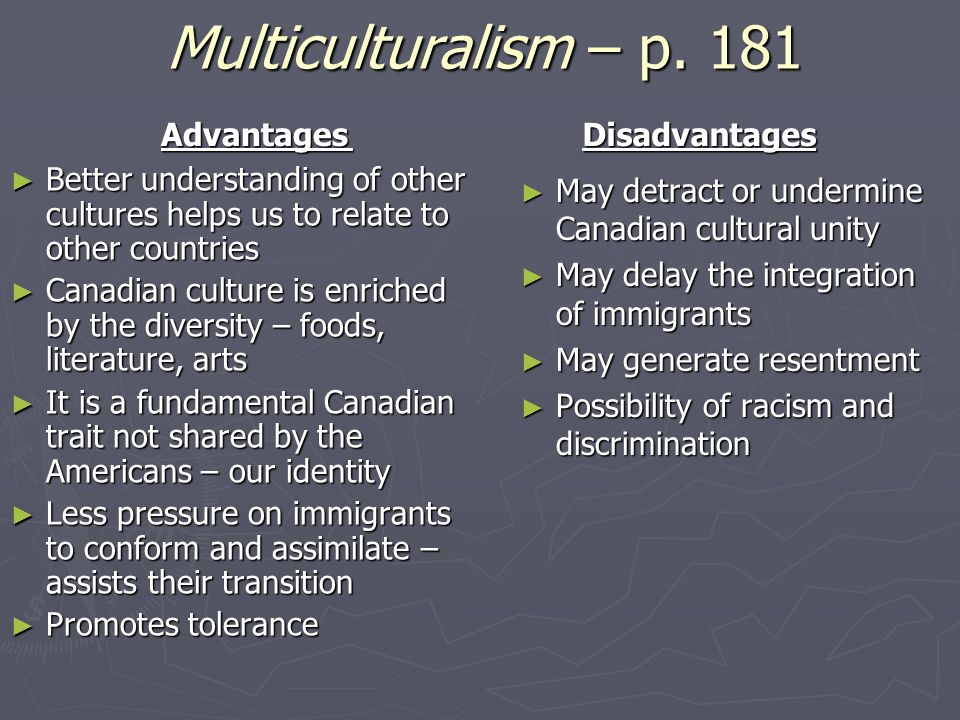 disadvantages of multiculturalism