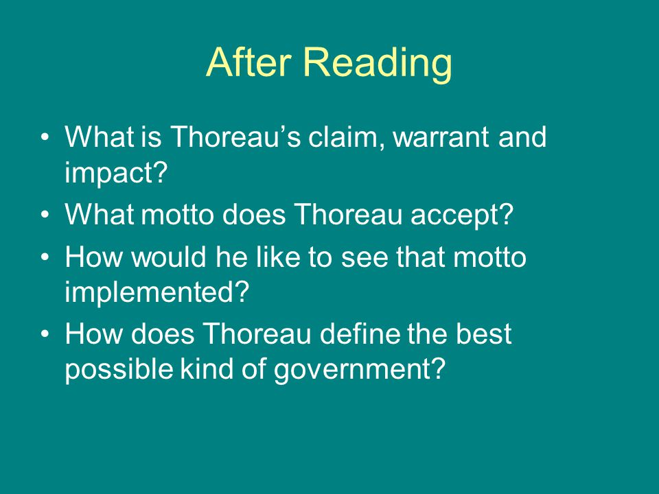 how does thoreau define a good citizen