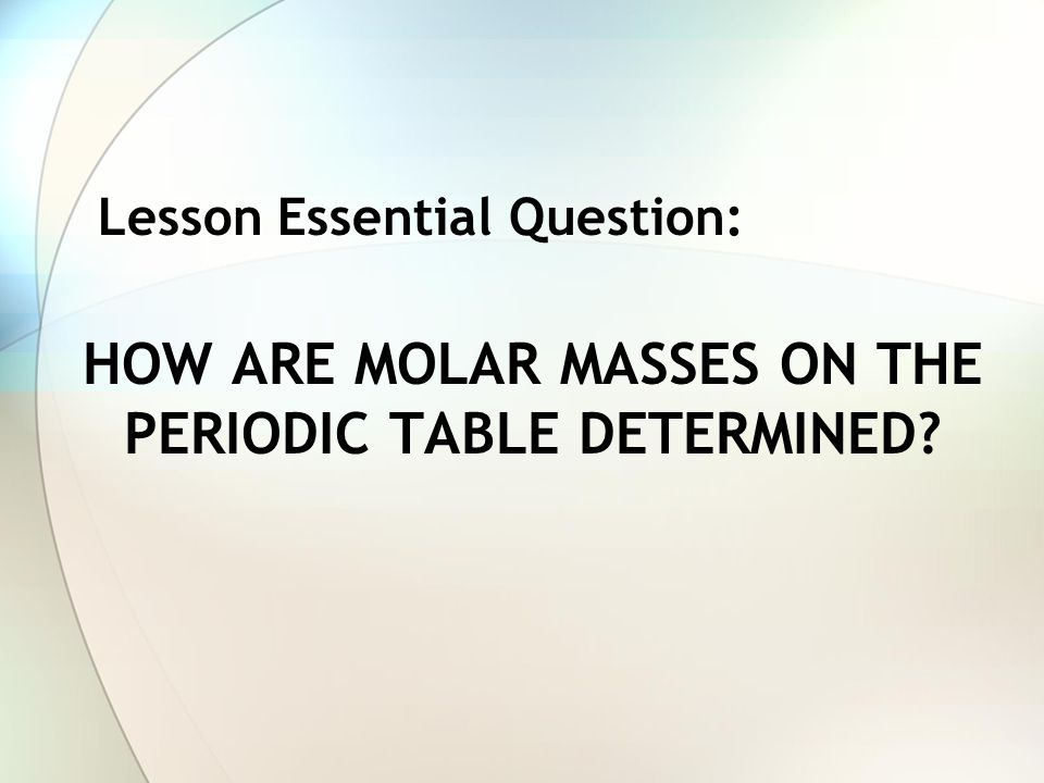 How are molar masses on the periodic table determined