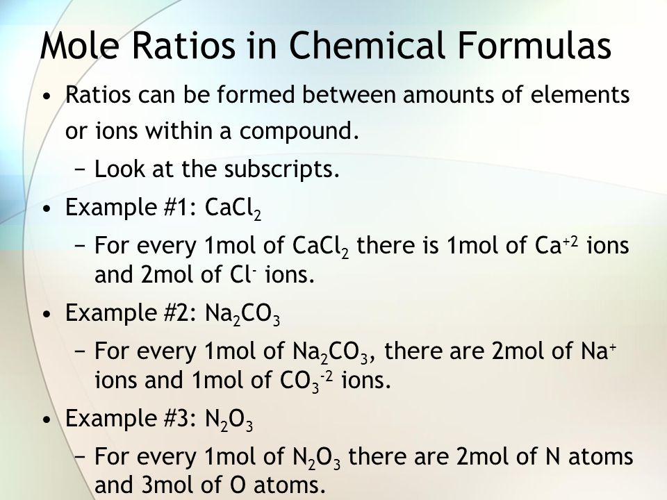 Mole Ratios in Chemical Formulas