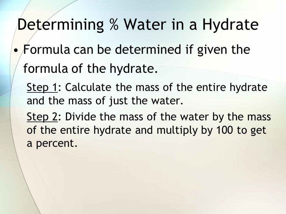 Determining % Water in a Hydrate
