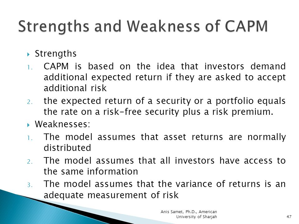 strengths of capm