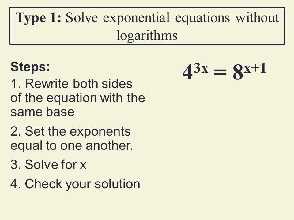 Type 1 Solve Exponential Equations Without Logarithms: Solving Logarithmic And Exponential Equations Worksheet At Alzheimers-prions.com