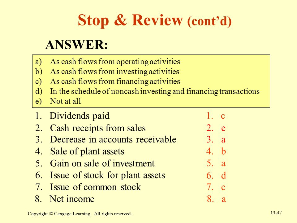 Stop & Review (cont'd) ANSWER: Dividends paid c