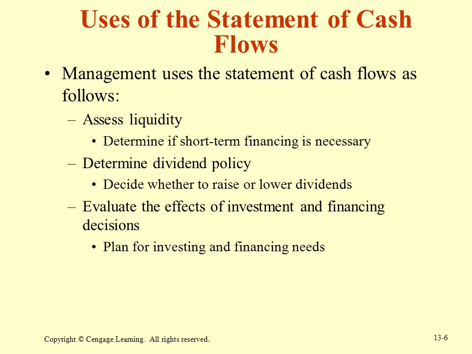 Uses of the Statement of Cash Flows