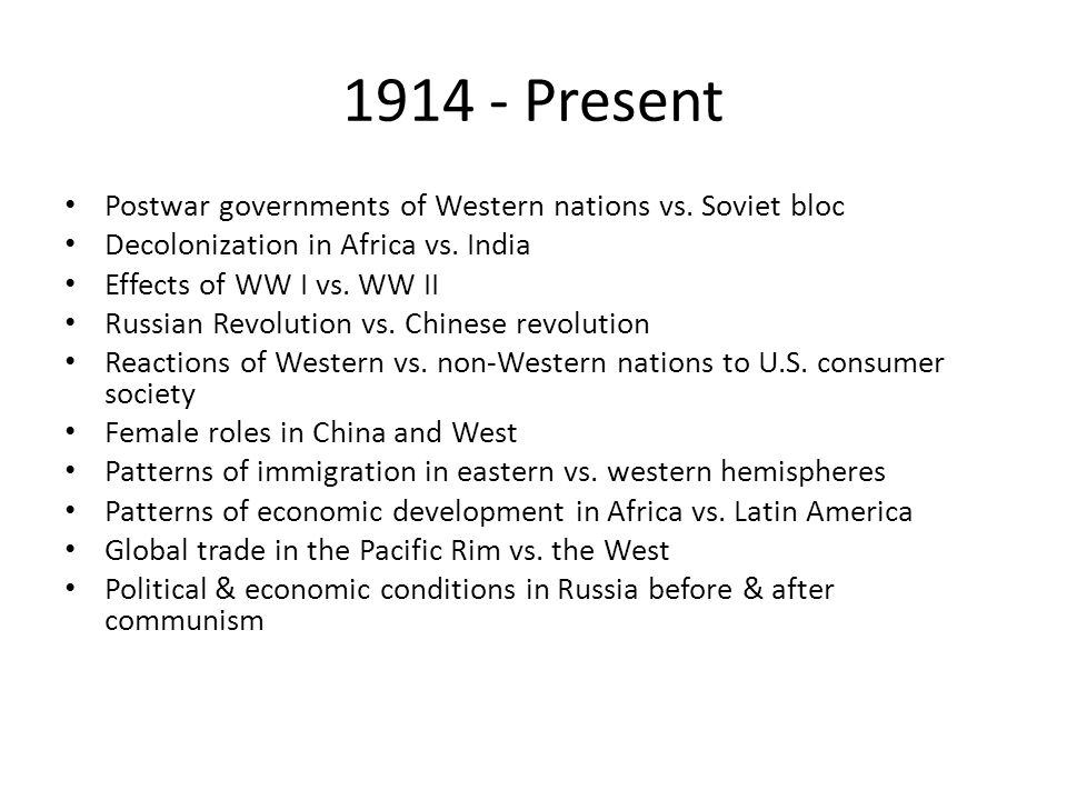 Present Postwar governments of Western nations vs. Soviet bloc