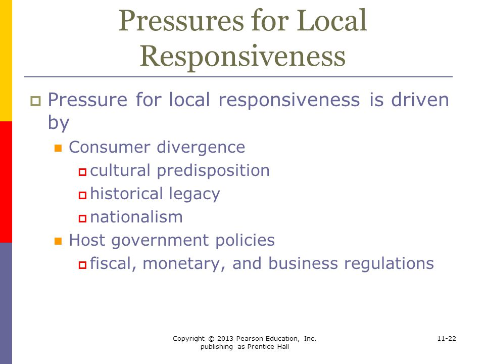 Pressures for Local Responsiveness